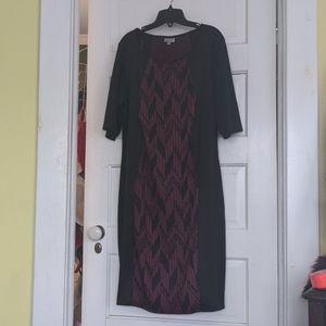 Avenue 14 / 16 dress. Black and maroon